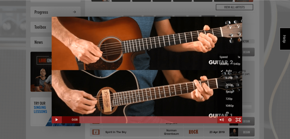 Guitar tricks video player with quality picker and playback control