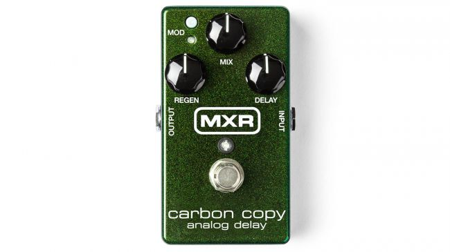 MXR carbon copy delay pedal on a white background
