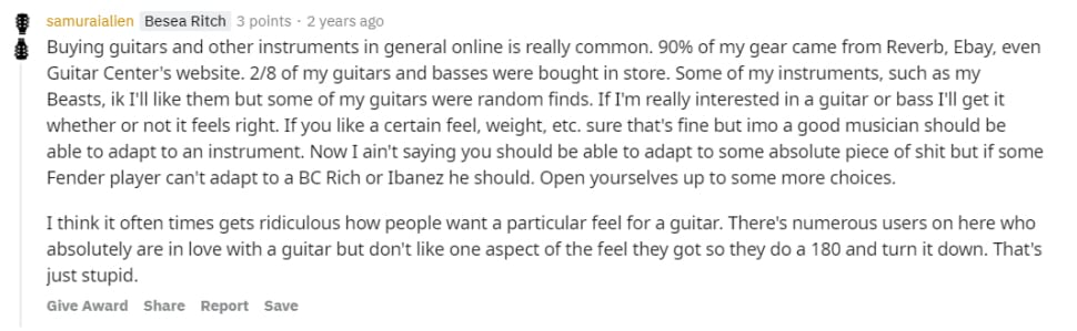 Where should you buy a guitar online - discussion on Reddit